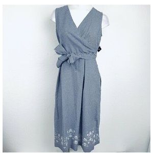 SANDRA DARREN Navy Gingham Dress w/Embriodery
